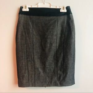 Pencil skirt with faux leather trim